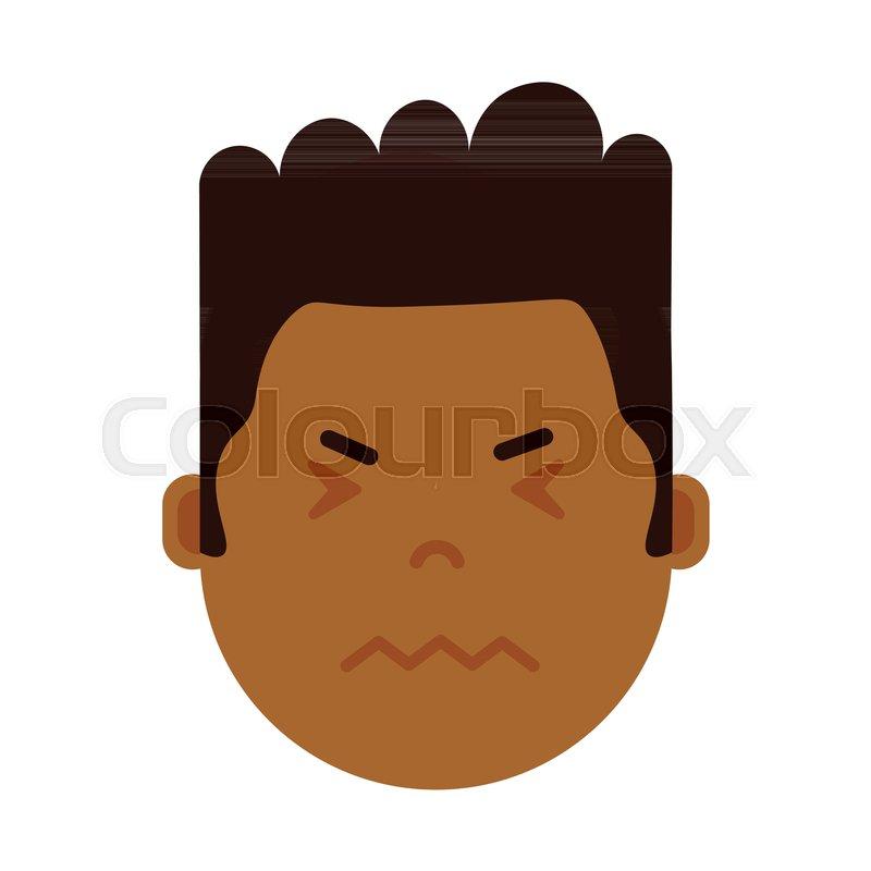 African boy head emoji personage icon       Stock vector   Colourbox