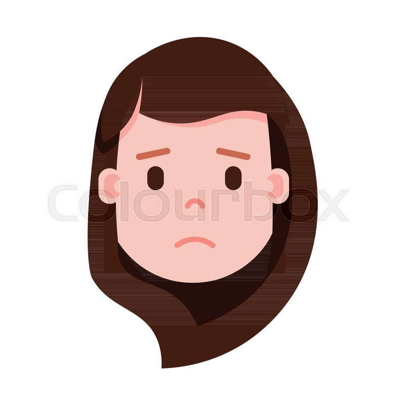 Girl Head Emoji With Facial Emotions Avatar Character Woman