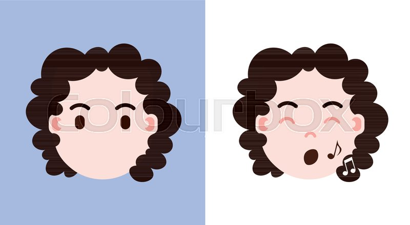 Set girl head emoji personage icon     | Stock vector