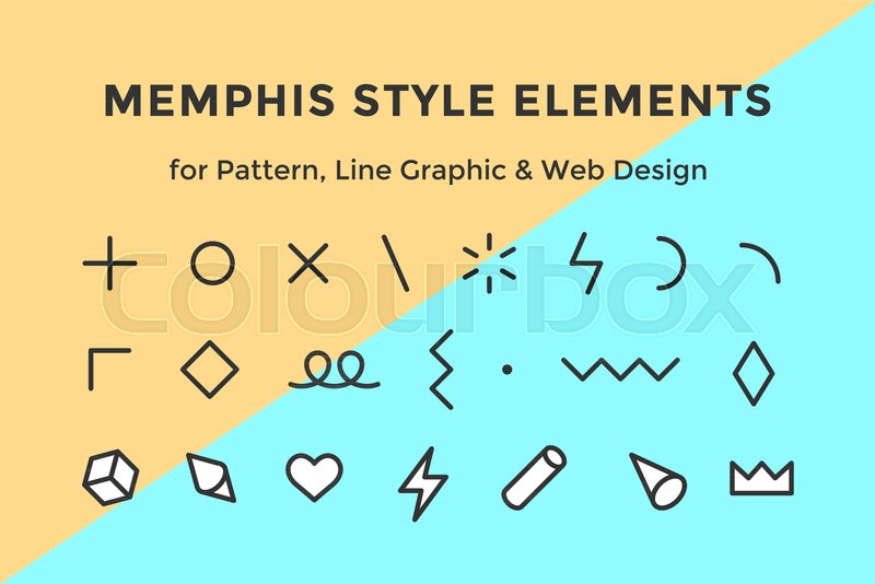 memphis style elements set of memphis design elements line graphic