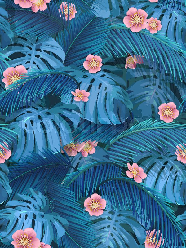 Exotic leaves and pink flowers seamless tropical background for exotic leaves and pink flowers seamless tropical background for fabric wallpaper leaves of monstera and banana palm stock vector colourbox mightylinksfo