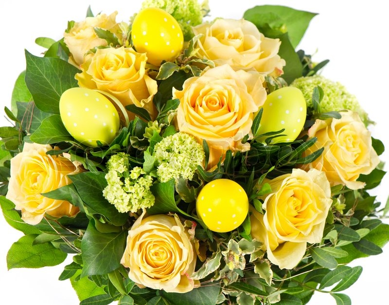 Easter flowers bouquet with eggs decoration stock photo colourbox mightylinksfo