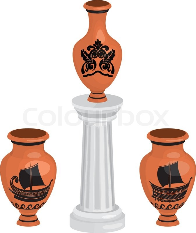 Antique Greek Vases Set With Ships And Floral Pattern