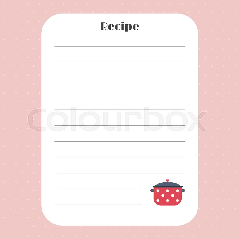 Recipe card template for restaurant cafe bakery and fast food recipe card template for restaurant cafe bakery and fast food cookbook template page vector illustration vector forumfinder Choice Image