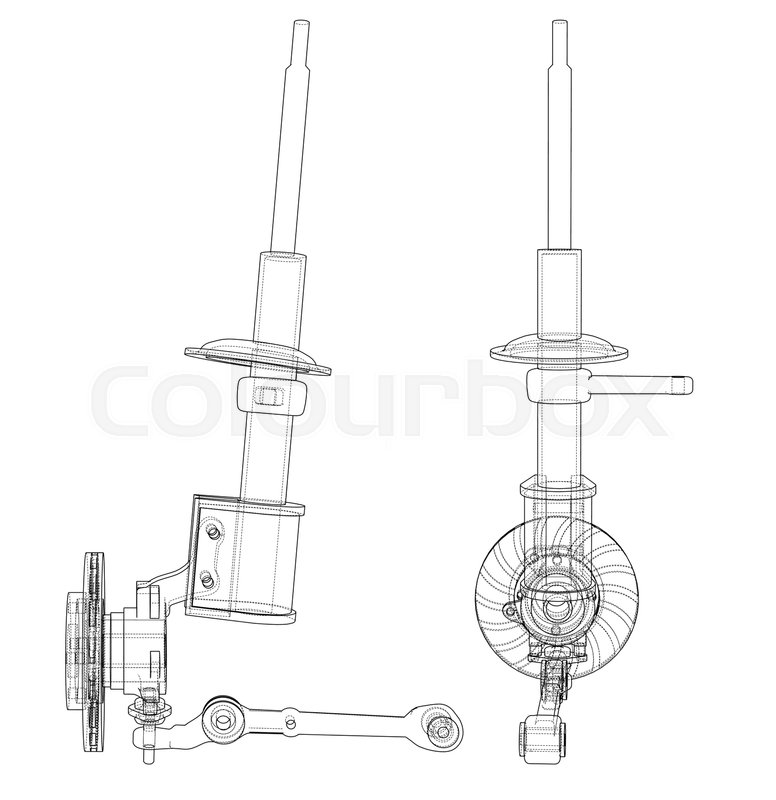 Car dampers with brake disc outline      | Stock vector