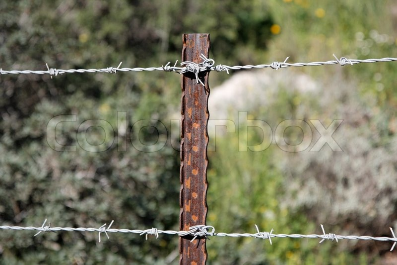 Two Strands Of Barbed Wire Fence On Rusty Steel Post