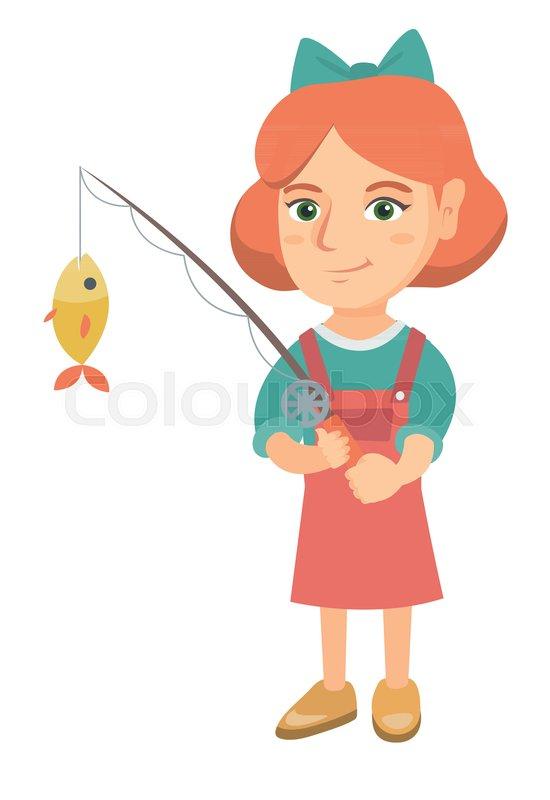 Caucasian Little Girl Fishing Full Stock Vector Colourbox