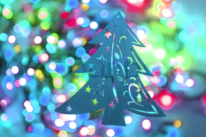 color christmas lights with decorative object as nice background stock photo colourbox