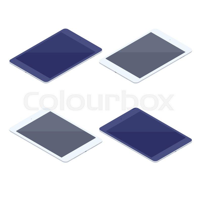 Isometric set of digital tablets isolated illustration. Technology ...