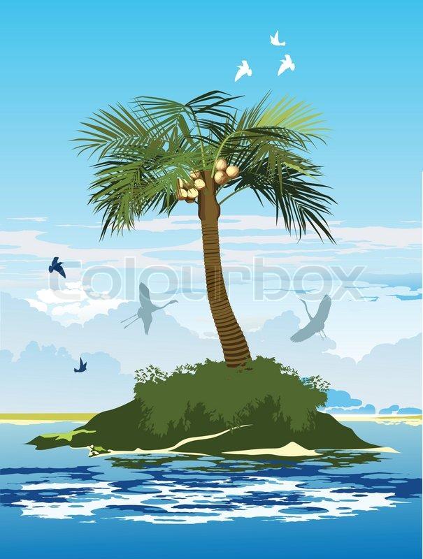 palme mit kokosn ssen auf der insel in der mitte des ozeans stock vektor colourbox. Black Bedroom Furniture Sets. Home Design Ideas