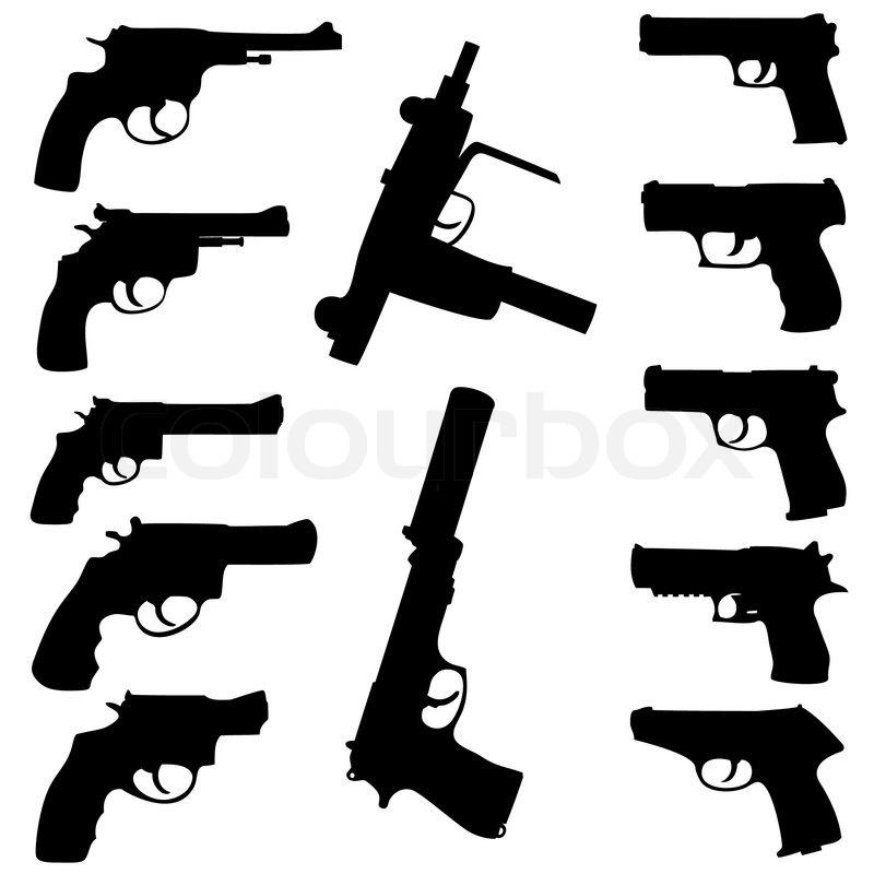 Vector guns set   Stock vector   Colourbox