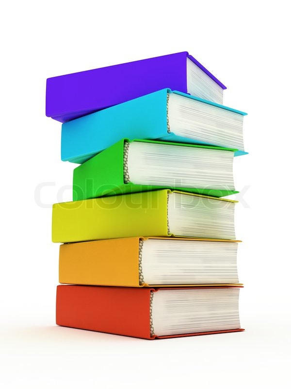 Some of Colored Books on White Background   Stock Photo   Colourbox