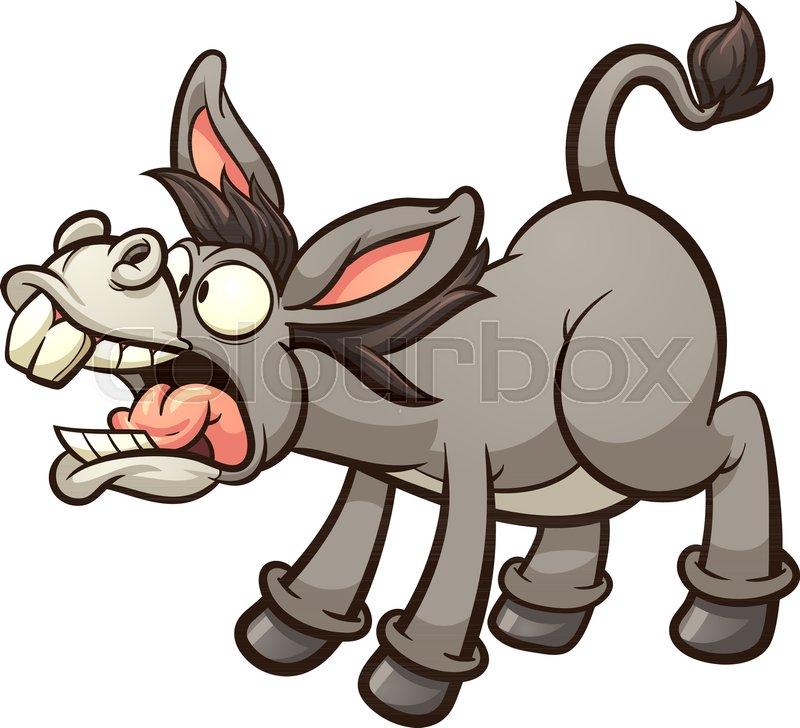Braying cartoon donkey  Vector clip     | Stock vector | Colourbox
