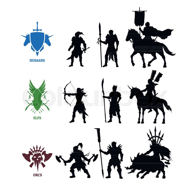Black Silhouettes Games Characters Stock Vector Colourbox