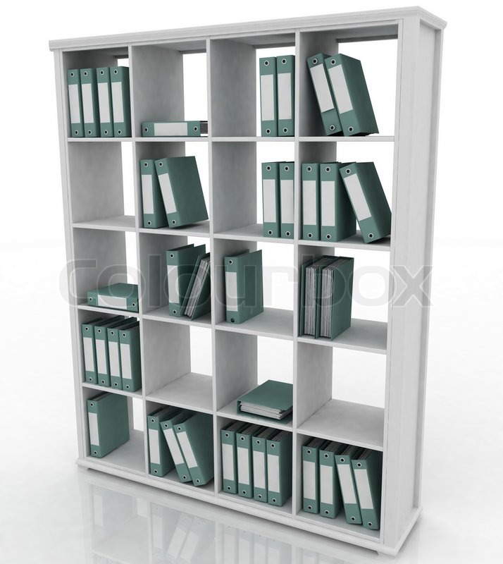 Image Of Office Bookshelf With Folders Stock Photo Colourbox