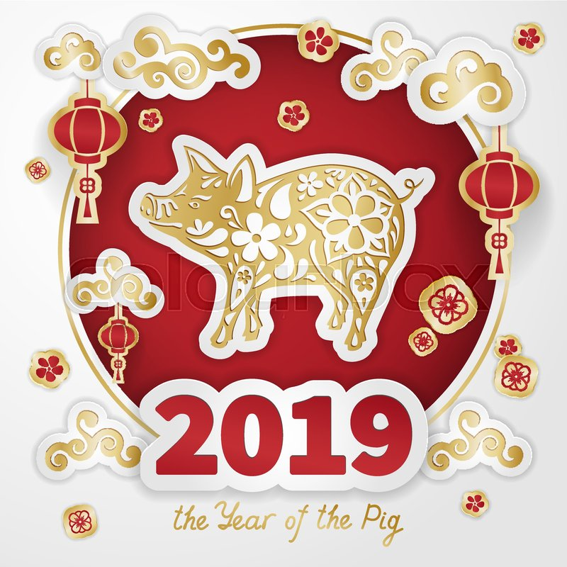 Pig Is A Symbol Of The 2019 Chinese Stock Vector Colourbox