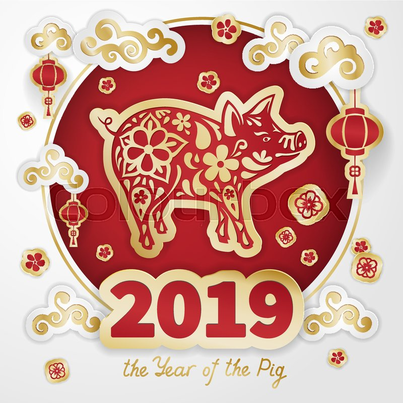 Pig is a symbol of the 2019 Chinese New Year Greeting card in