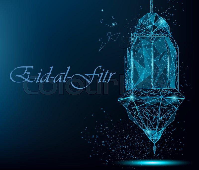 Eid al fitr bright greeting card with traditional arabic lantern eid al fitr bright greeting card with traditional arabic lantern polygonal art on blue background usable for eid mubarak m4hsunfo