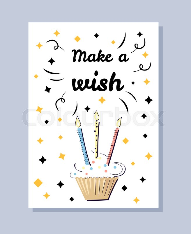 Make A Wish White Postcard Birthday Card With Cake And Candles