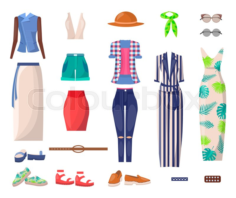 655bba1b4c7eb7 Female summer clothes and stylish ... | Stock vector | Colourbox