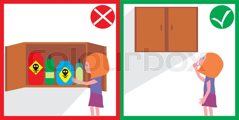 Child Safety Dangerous Household Stock Vector Colourbox
