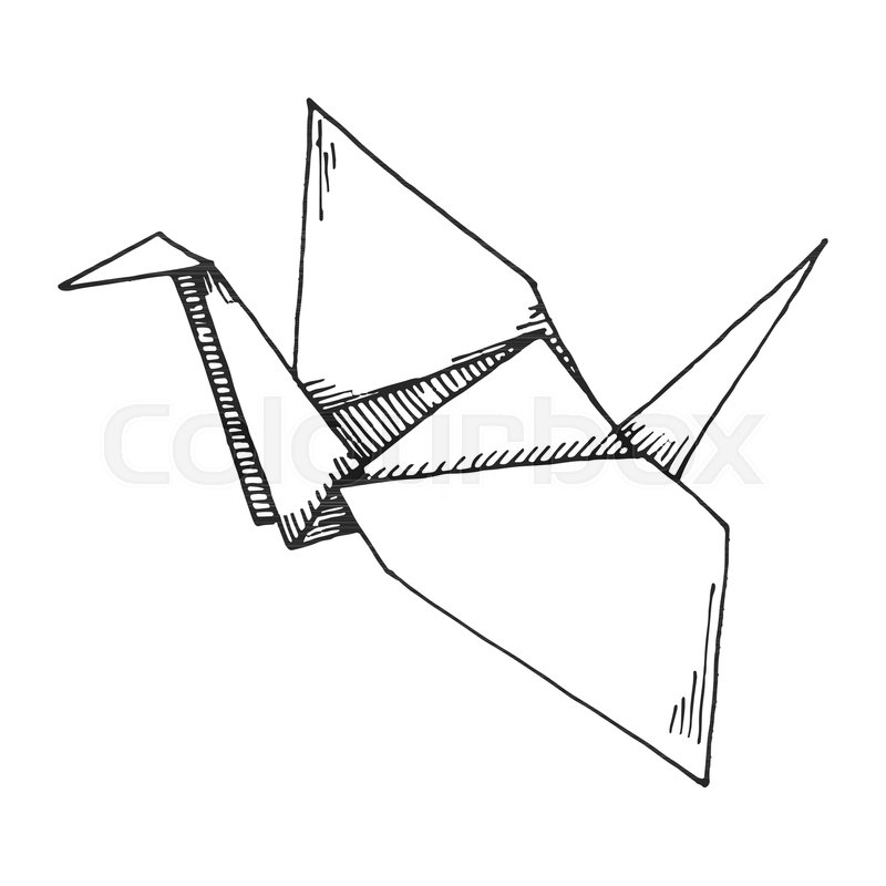 Sketch Of Origami Crane Isolated On White Background Vector