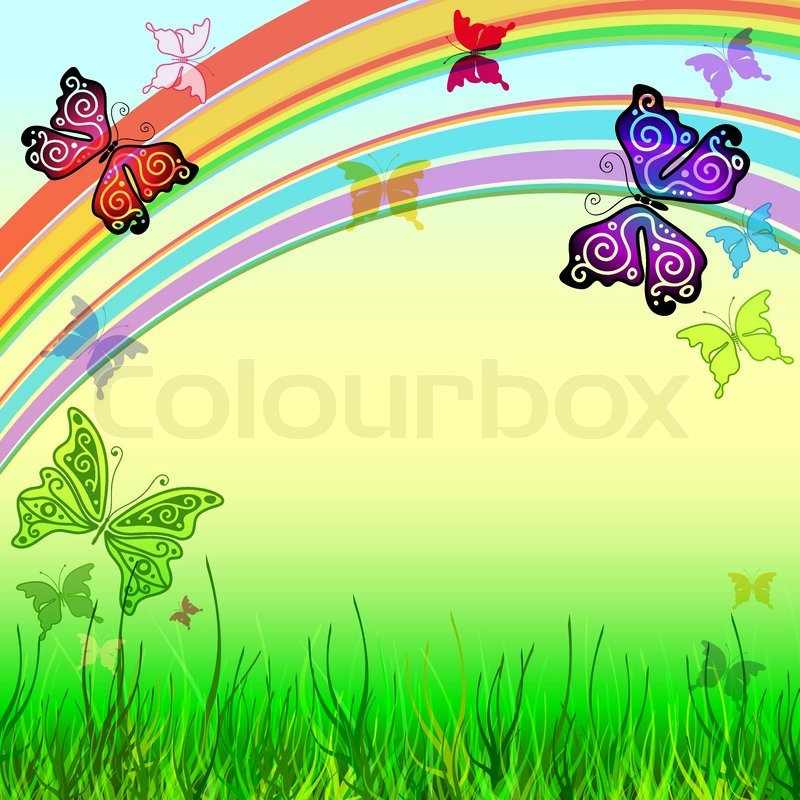 Spring vivid frame with meadow, rainbow and butterflies vector EPS ...