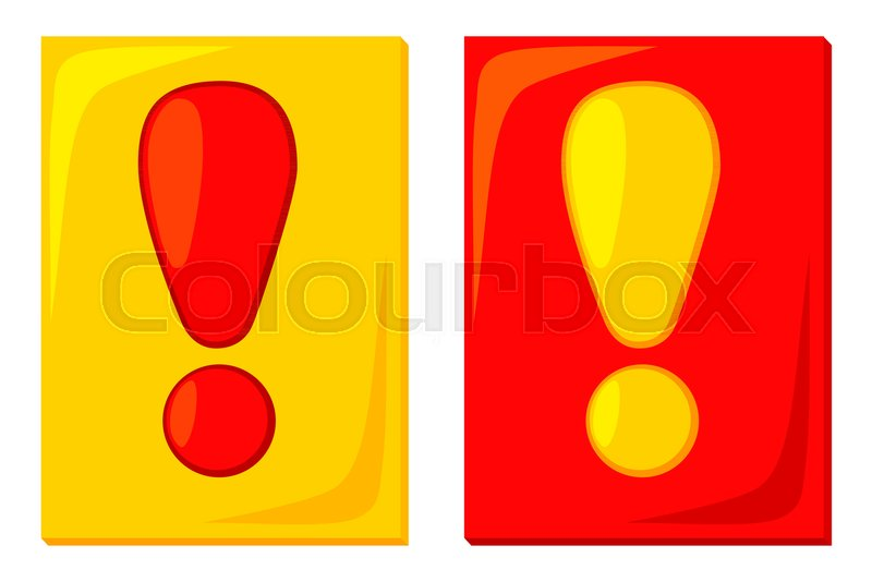 Colorful Cartoon Red Yellow Attention Cards Sport Theme Vector