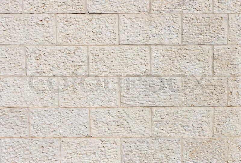 Vertical wall built of Jerusalem stone blocks, stock photo