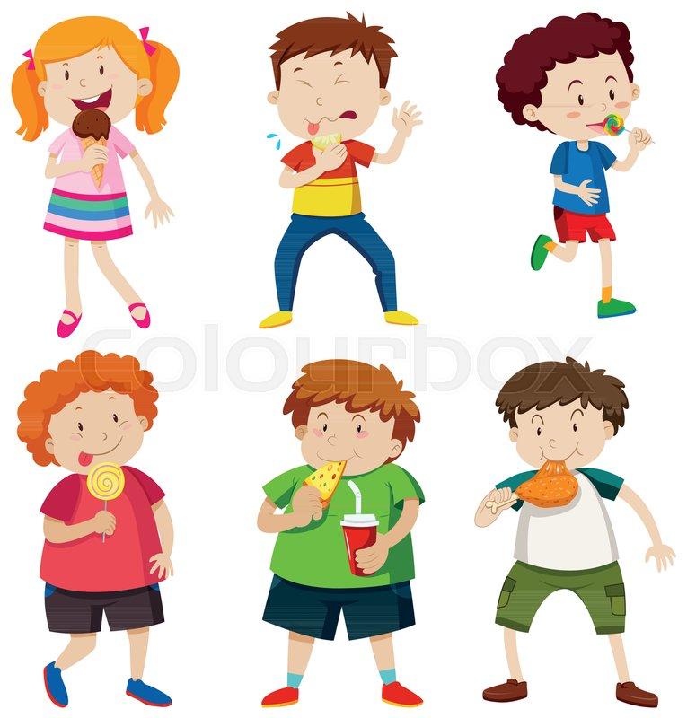 A Set of Kid Eating Unhealthy Food     | Stock vector | Colourbox
