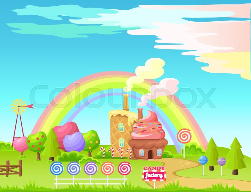 Candy Factory Cartoon Vector Concept Fantastic Landscape With