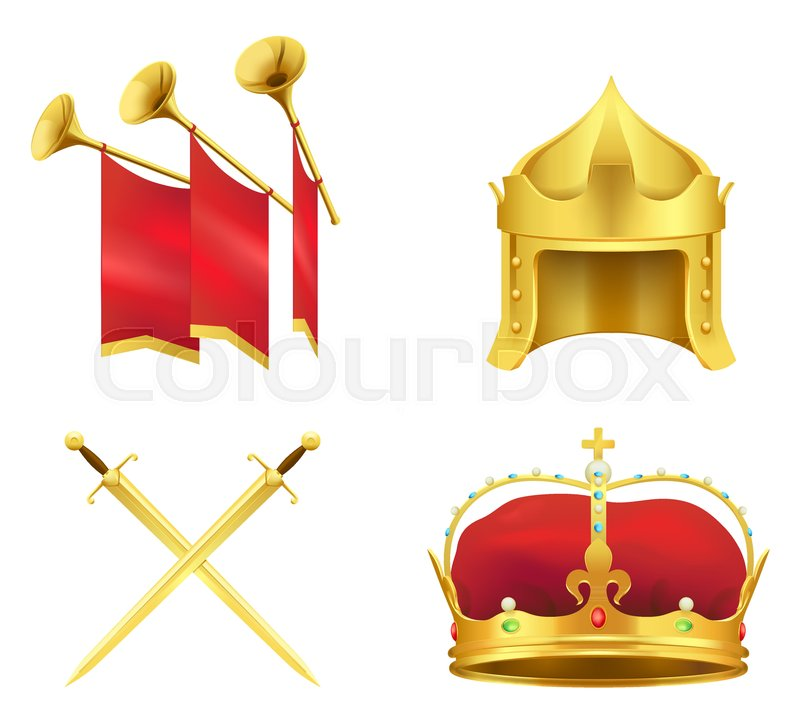 Golden Medieval Symbols 3d Icons Set Gold Crown With Gems Knight