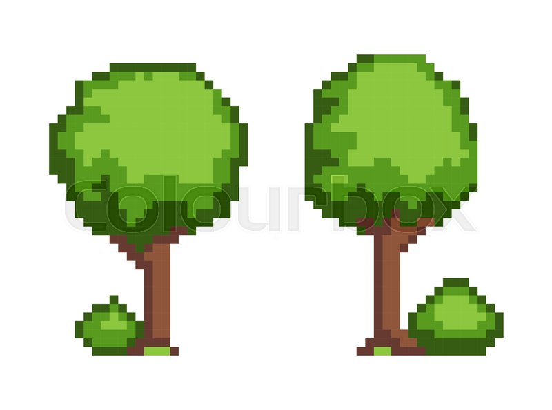 Tree pixel plant object, tree created in pixels with bush ...