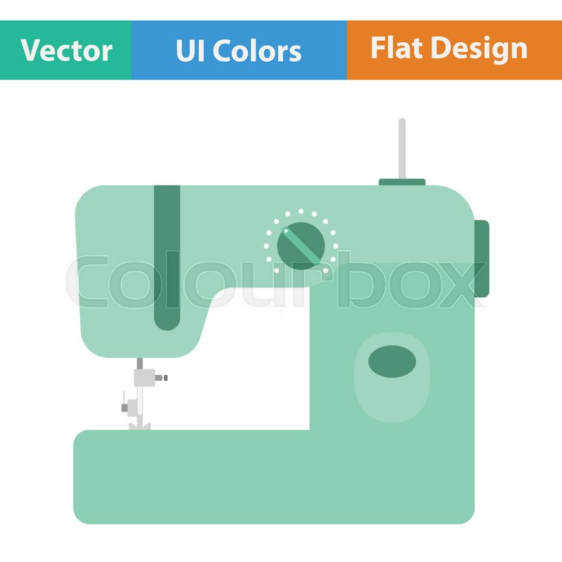 Modern Sewing Machine Icon Flat Color Design Vector Illustration Enchanting Modern Sewing Machine