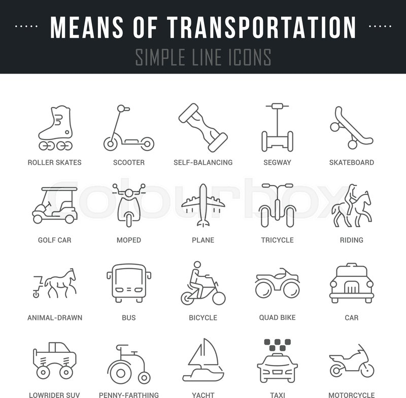 Set Of Outline Signs And Symbols Of Means Of Transportation With