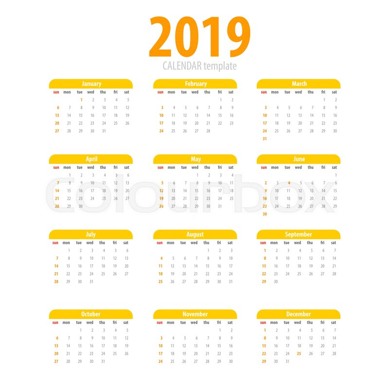 printable calendar 2019 simple template yellow pig colors eastern new year year month week day business planner schedule modern number grid