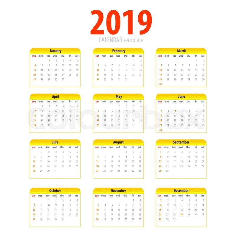 printable calendar 2019 simple template halftone pop art yellow pig colors eastern new year year month week day business planner schedule