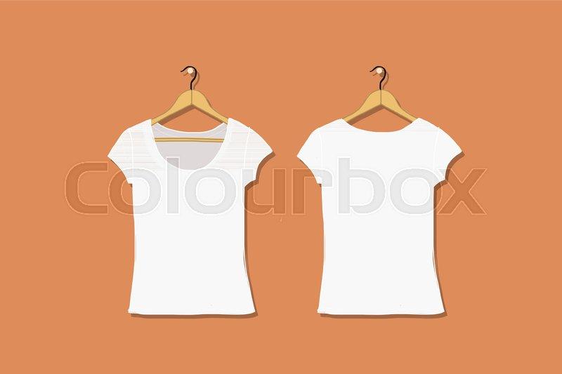 Female Tshirt Mockup White For Your Stock Vector Colourbox