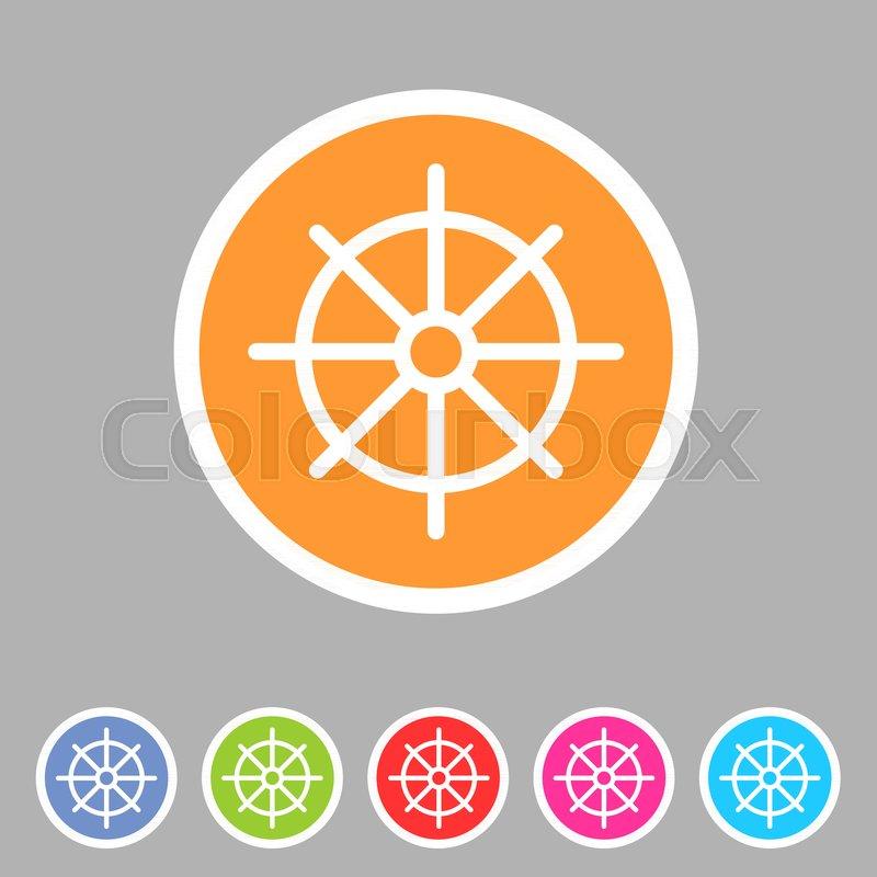 Dharma Wheel Dharmachakra Buddhism Icon Flat Web Sign Symbol Logo