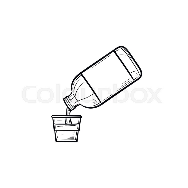 mouth rinse with measuring cup hand drawn outline doodle icon