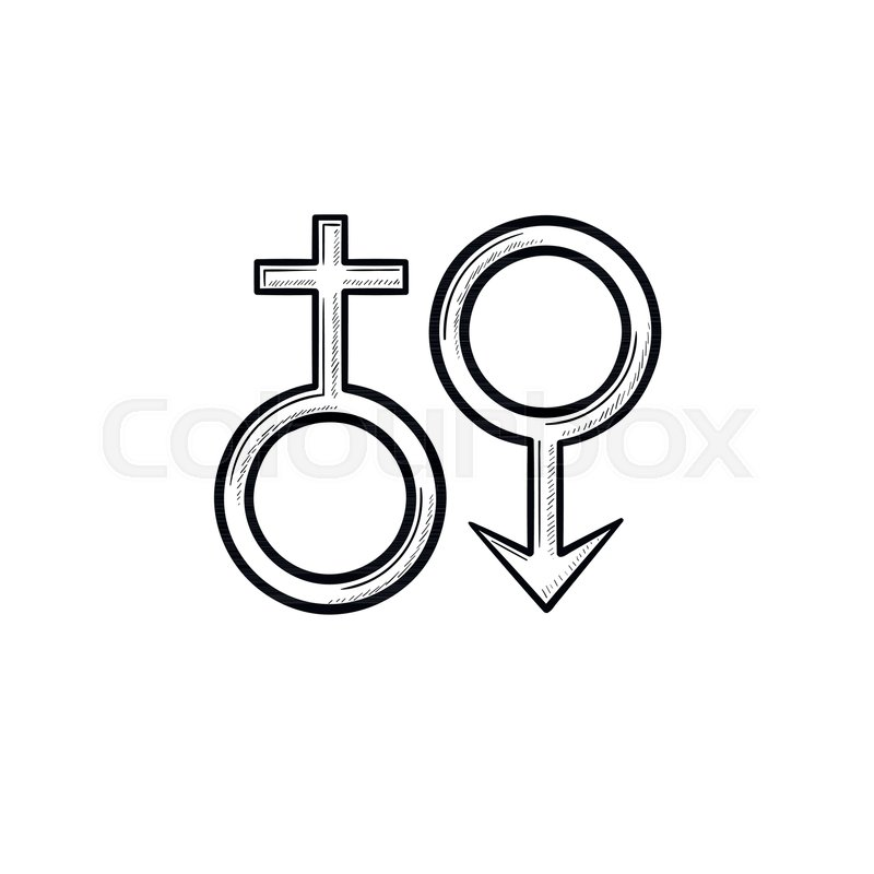 Female Male Genger Symbols Hand Drawn Outline Doodle Icon Men And