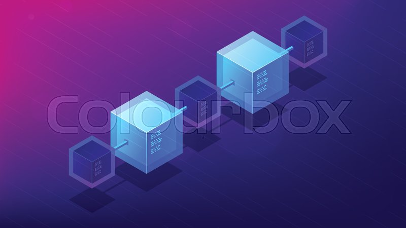 Isometric Blockchain Network Architecture Concept Computer Global Decentralized System Of Data Transfer Illustration On Ultra Violet Background