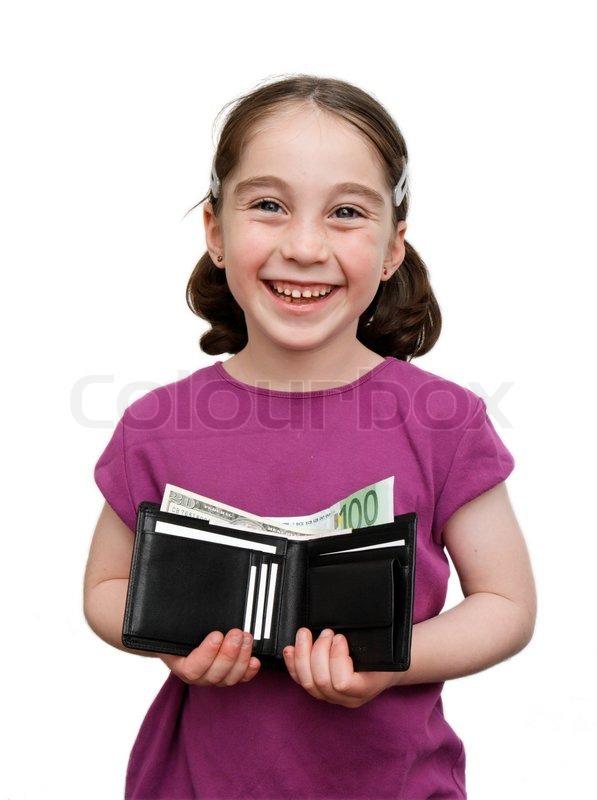 smiling 7 jahre m dchen mit z pfen h lt eine brieftasche. Black Bedroom Furniture Sets. Home Design Ideas