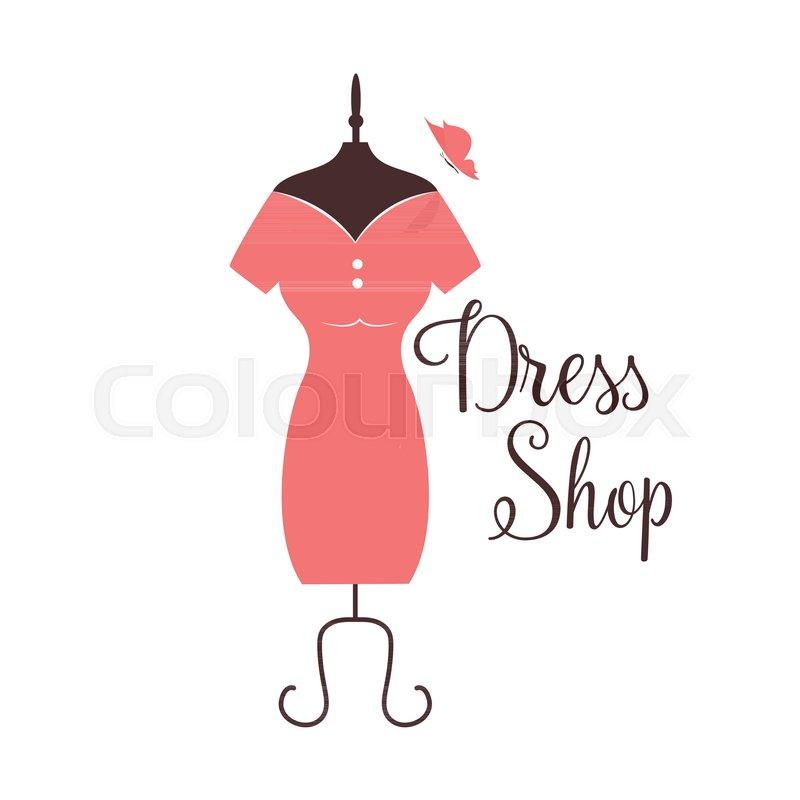 women fashion logo design template dress emblem stock vector