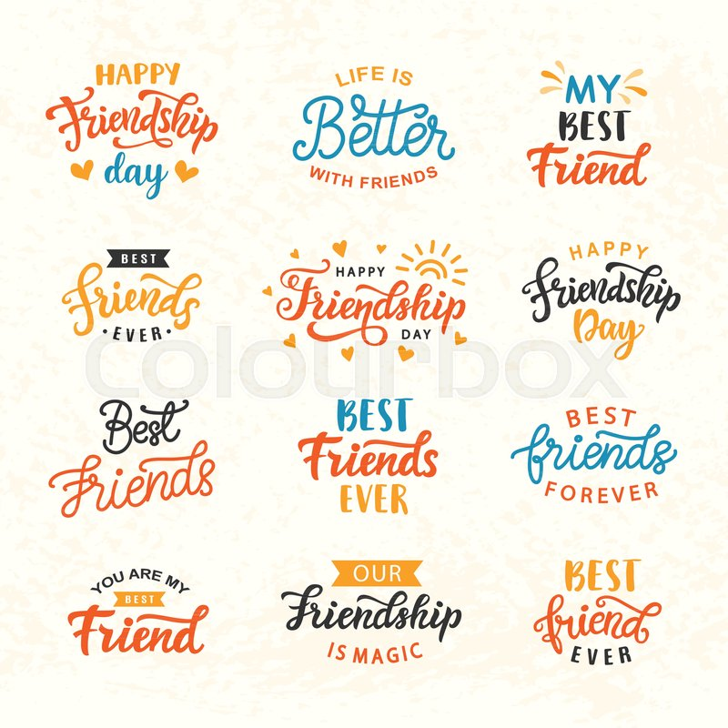 Friendship Card Template | Happy Friendship Day Hand Lettering Big Set Greeting Card