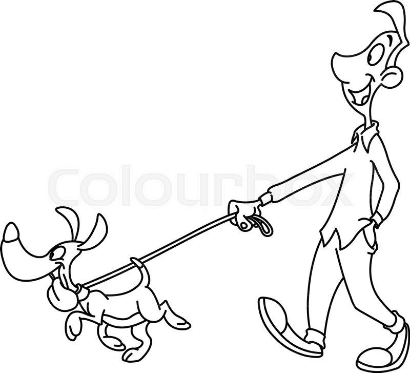 Outlined Man Walking Dog Vector Line Art Illustration