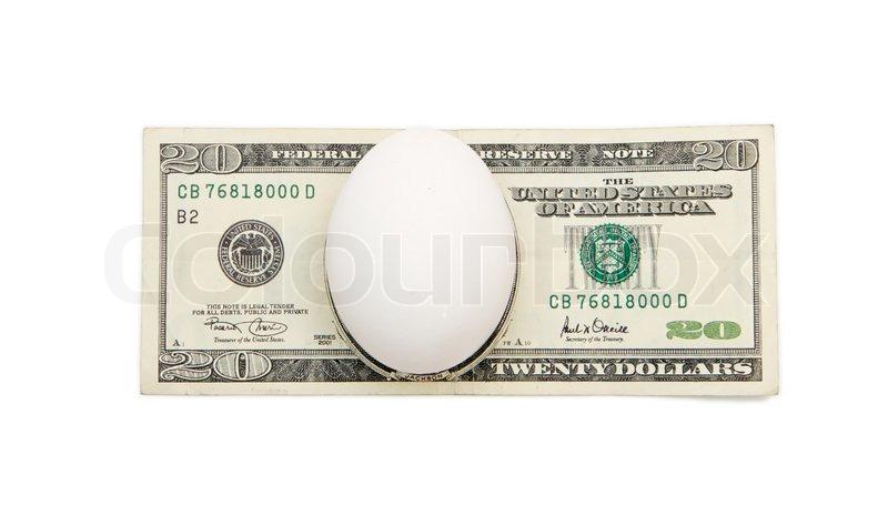 White egg on twenty dollar bill     | Stock image | Colourbox
