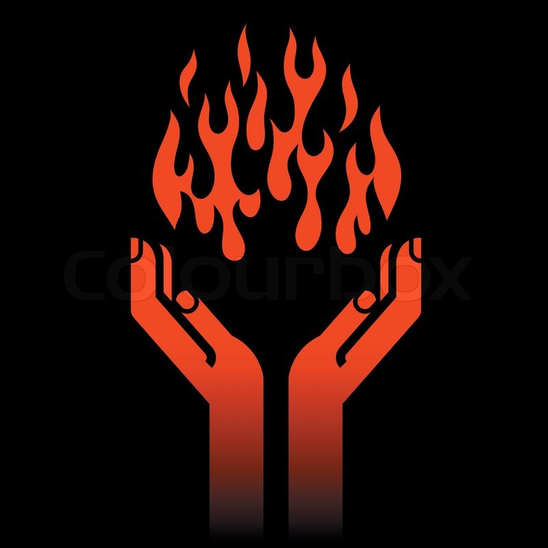 Prometheus' hands with fire on black | Vector | Colourbox
