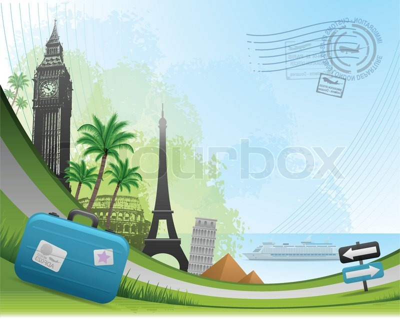 Postal card travel concept background | Vector | Colourbox