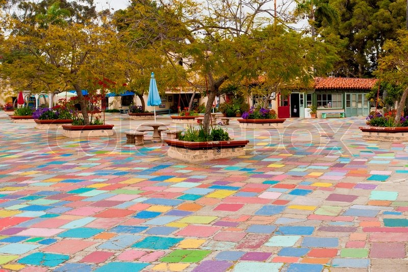 Spanish Village Art Center With Multi Colored Pavement In